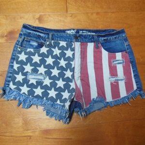 MOSSIMO High rise/short short American flag shorts